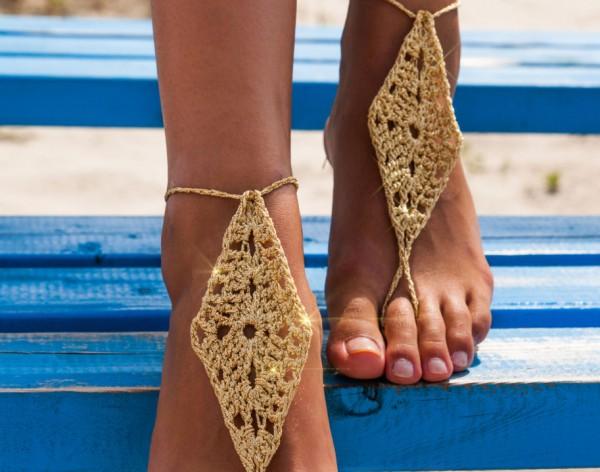 Gold Barefoot Sandals