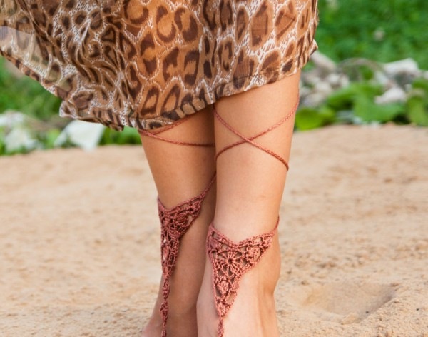 Crochet Brown Barefoot Sandals
