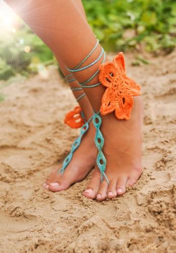 Tropical flower Crochet Barefoot Sandals