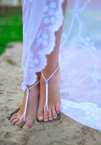 Rhinestone Beach wedding White Crochet Barefoot Sandals