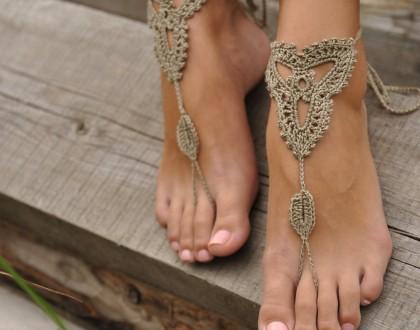 Crochet Tan Barefoot Sandals