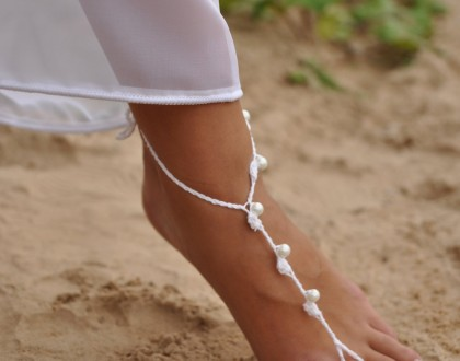Beach wedding White and Pearl Beaded Barefoot Sandals