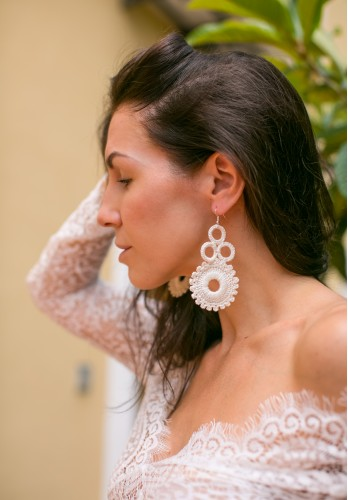 Ivory crochet earrings