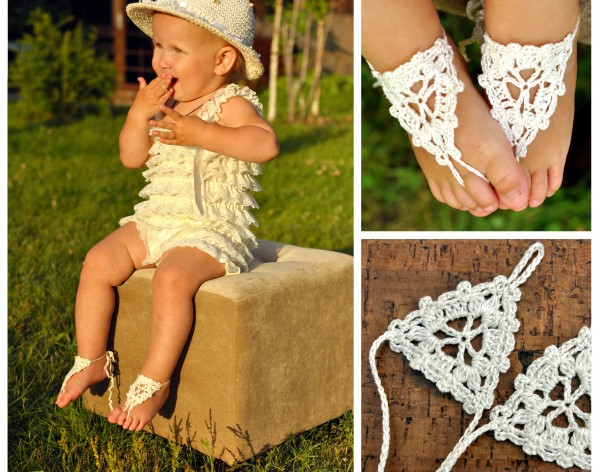 Paloma Crochet Baby Barefoot Sandals