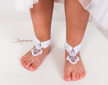 Beach wedding french lace footless sandal