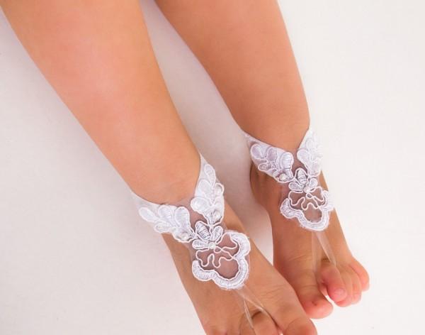Beach wedding lace footless sandal