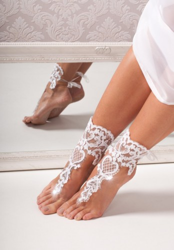 Elizabeth Lace bridal barefoot sandals