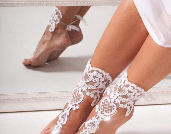 Elizabeth Lace bridal barefoot sandals