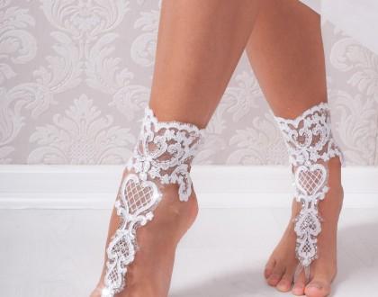 Lace bridal barefoot sandals