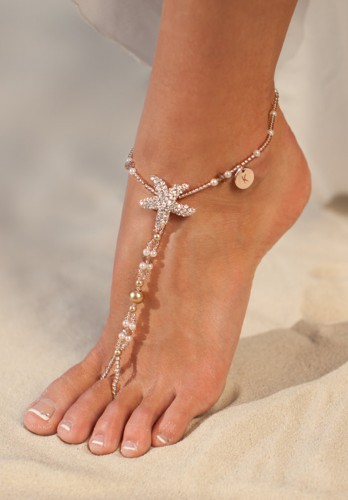 Antigua Rose Gold barefoot sandals