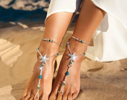Rhinestone starfish barefoot sandals