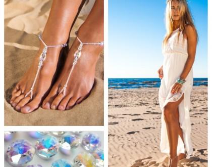 Barefoot sandals Swarovski crystals