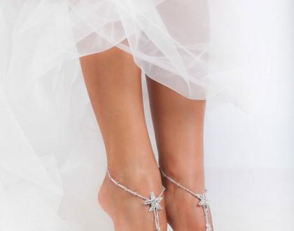 Rhinestone Starfish Silver Beaded barefoot sandals