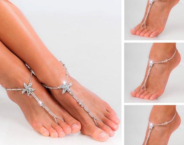 Wedding party set Rhinestone starfish barefoot sandals